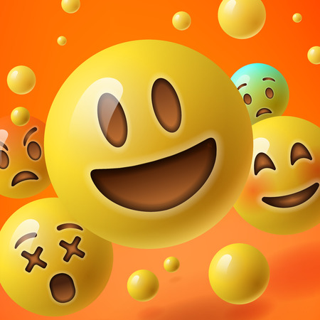 lol: Background with group of smiley emoticons, emoji, social media communication concept, vector illustration.