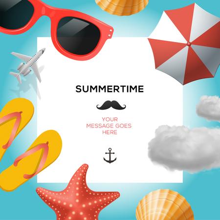 Sommerzeit reisen Vorlage mit Strand Sommer-Zubehör, Vektor-Illustration.