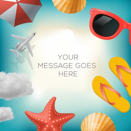 sun umbrella: Summertime background with summer icons, airplane, sun umbrella, flip flops, sunglasses, star fish, shell, cloud