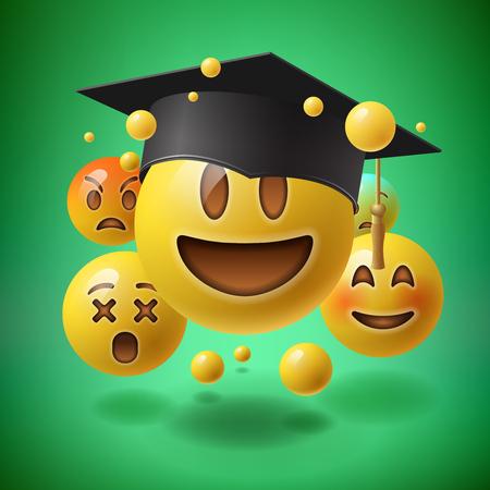 Konzept für die Graduierung, grünen Hintergrund mit einer Gruppe von smiley Emoticons