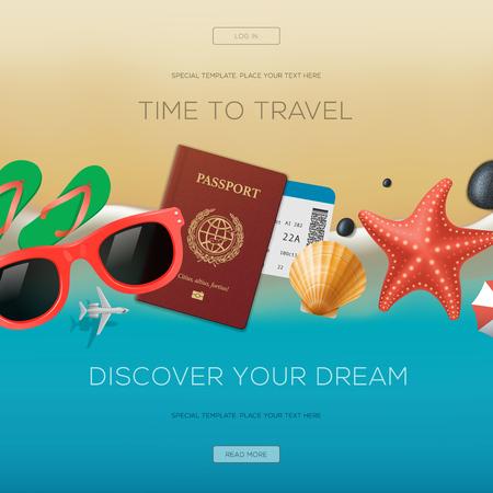 valise voyage: Summertime vacances fond, le temps de voyager, découvrir votre rêve Illustration