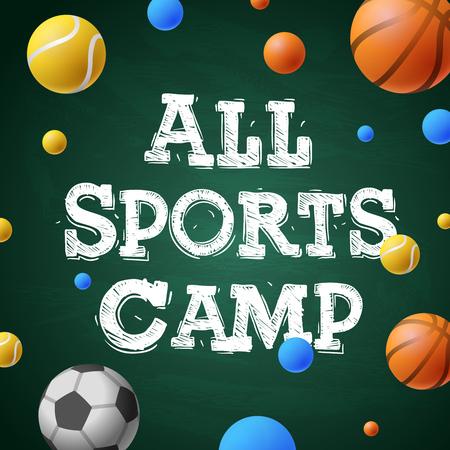 futbol infantil: Deportes campamento de verano de formación, cartel temático, juegos deportivos, ilustración vectorial.