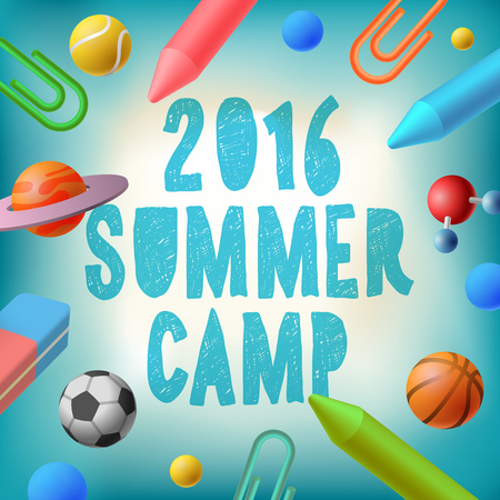 Summer camp 2016, themed poster, vector illustration.