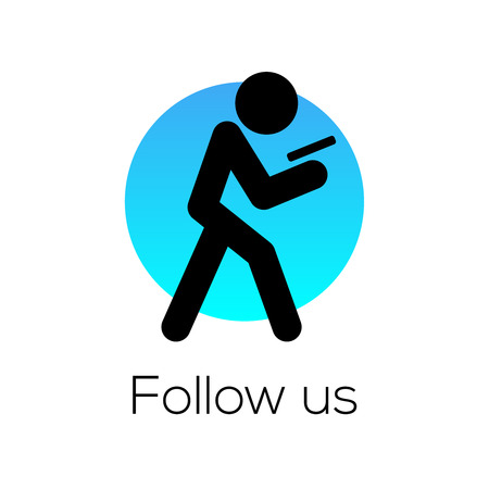 Follow Us sign, for social media community, vector illustration. Illustration