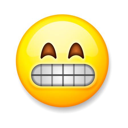 Emoji lokalisiert auf weißem Hintergrund, Gesicht verziehendes Emoticon, Vektorillustration. Standard-Bild - 68112576