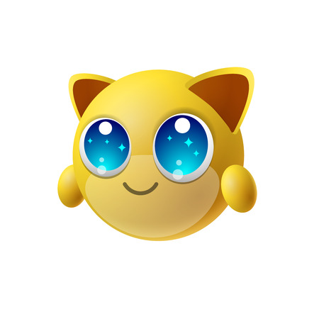 Cute animal emoji with big eyes, cartoon character, isolated background, vector illustration.