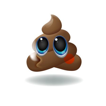 turd: Pile of Poo emoji, shit icon, smiling face with big eyes, symbol, vector illustration. Illustration