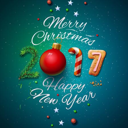 Frohe Weihnachten und Happy New Year 2017 Grußkarte, Vektor-Illustration. Standard-Bild - 69345267