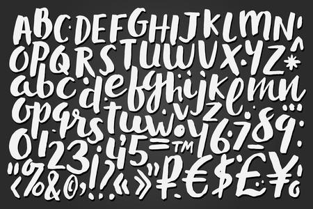 Handschriftliche Pinsel Buchstaben, Symbole und Zahlen, Tafel Hintergrund Vektor-Illustration Illustration