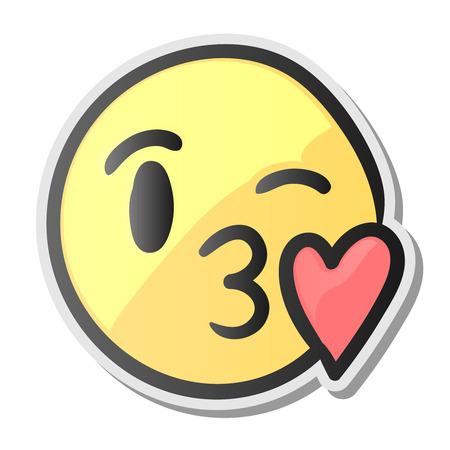 Emoji küssen lächelndes Gesicht, Emoticon mit Kuss Liebe Lippen, Vektor-Illustration.