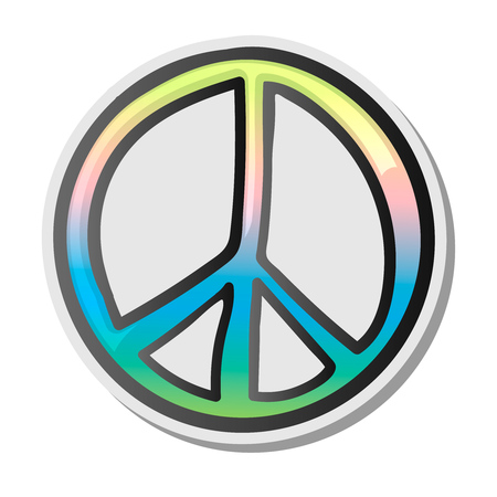 Peace sign, emoji, sticker, emoticon, vector illustration. Standard-Bild