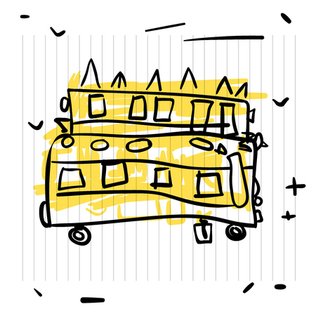Back to school concept. Cute sketch of school bus on notebook page Illustration