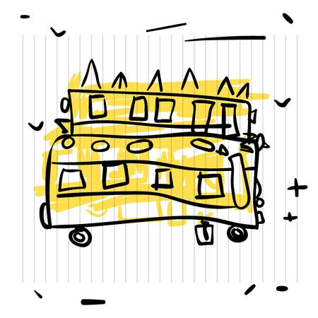 Zurück zum Schulkonzept. Nette Skizze des Schulbusses auf Notizbuchseite Illustration