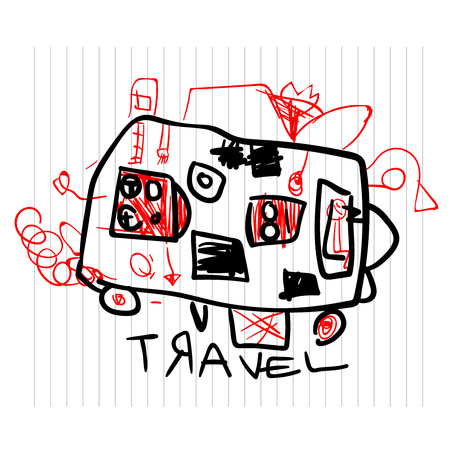 Travel and tourism concept. Cute childrens drawings of kids on notebook page Illustration