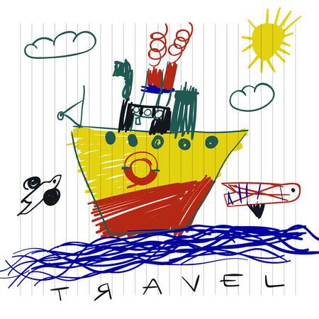 Reise- und Tourismuskonzept Nette Boot Kinder Zeichnungen von Kindern auf Notebook-Seite