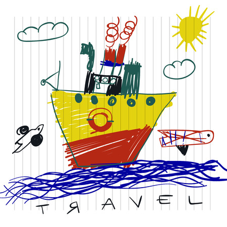 Travel and tourism concept. Cute boat childrens drawings of kids on notebook page