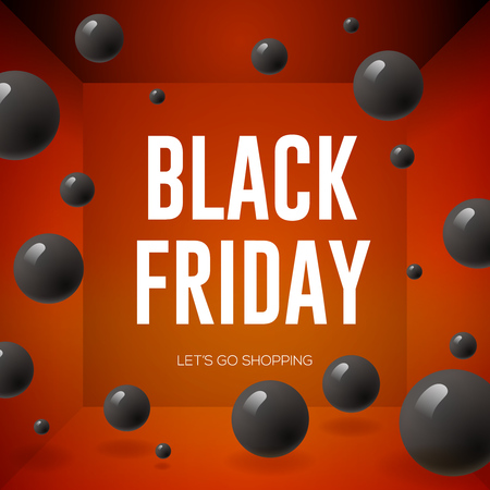 Black Friday Sale poster with shiny balloons on red background