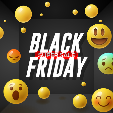 Black Friday super Sale poster with emoticons smiling faces, black background