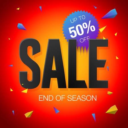 Final sale poster or flyer design. End of season sale on red background