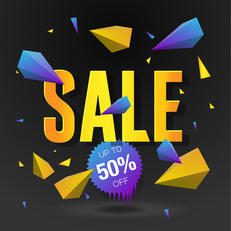 Sale 50 off poster with abstract triangle elements, black background