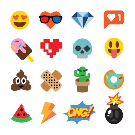 Satz nette Emoticons, Aufkleber, Emoji-Design, lokalisiert auf weißem Hintergrund
