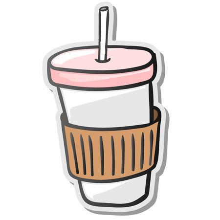 Papier Kaffeetasse Aufkleber Vektor-Illustration