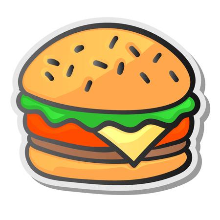 Burgeraufkleber, lokalisierter Hintergrund. Grafikdesignelement für Menü, Verpackung, Werbung, Plakat, Broschüre, Vektorillustration. Standard-Bild - 86220489