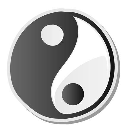 Yin yang symbol of harmony and balance sticker, vector illustration. Illustration