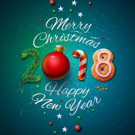 Frohe Weihnachten und guten Rutsch ins Neue Jahr 2018 Grußkarte.