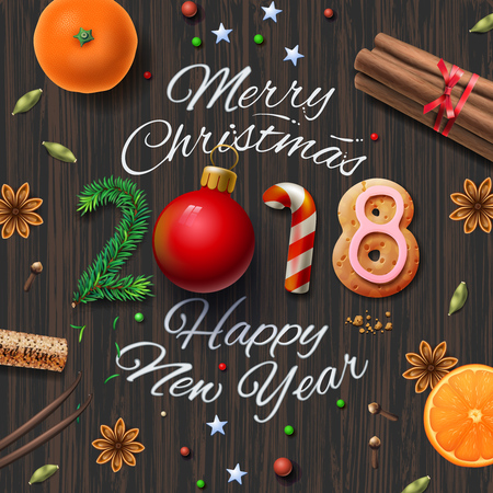 Merry Christmas, Happy New Year 2018, vintage background.