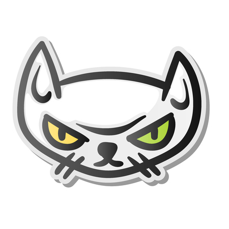 Angry grumpy cat emoji face Illustration