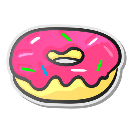 Cute pink donut, emoji sticker Illustration