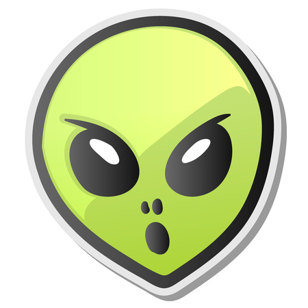 Green alien face emoji. Extraterrestrial humanoid head icon, sticker, vector illustration. Illustration
