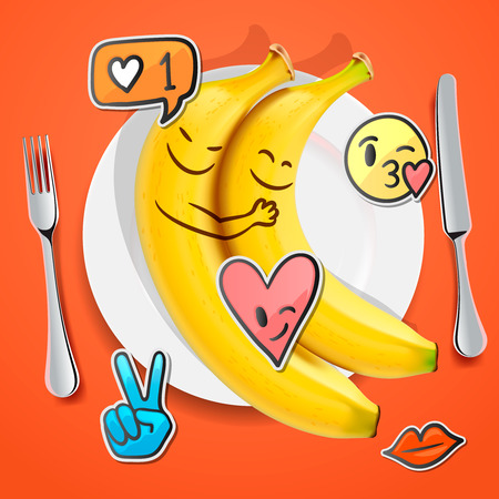 Two funny bananas with emoji faces in love emoticon, concept for Valentines day