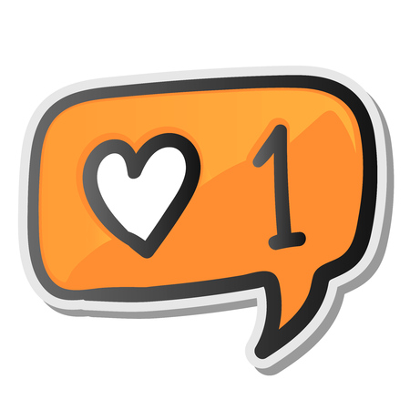 Speech bubble sticker with hearts like counter notification