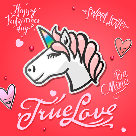 Valentines day card with cute unicorn animal, stickers and hand drawn letters
