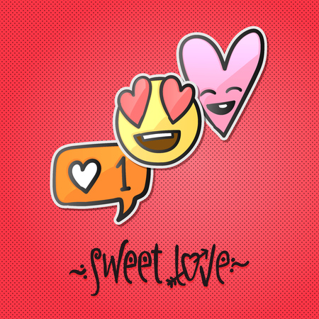 Valentines day stickers, love emoji, icons emoticons vector Illustration