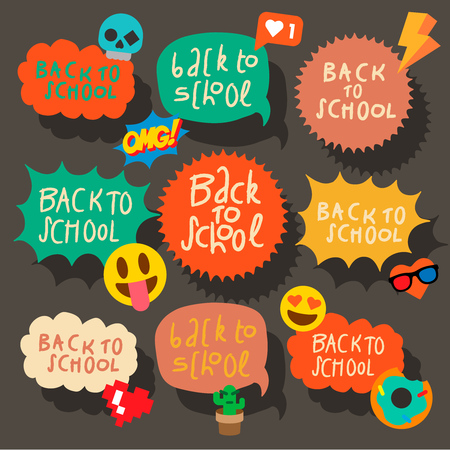 Back to school set of speech bubbles stickers with emoji smiley faces, vector illustration.