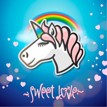 Cute unicorn animal, stickers and hand drawn letters illustration. Illustration