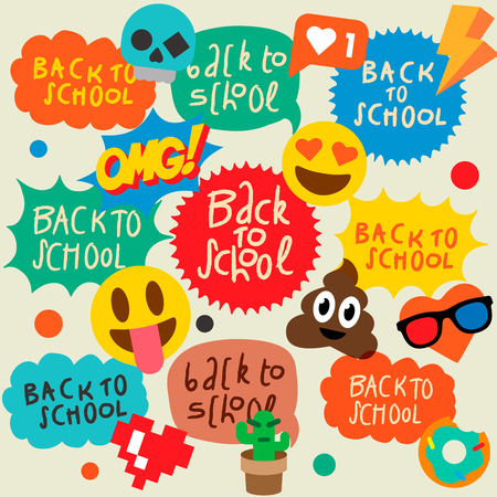 Back to school speech bubbles stickers, emoji smile faces.