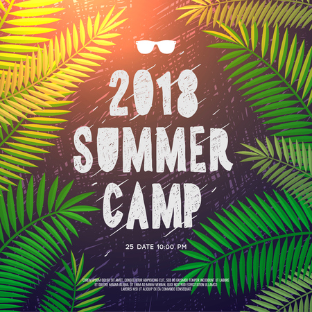 Summer Holiday and Travel themed Summer Camp 2018 poster