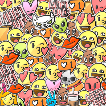 Emoji smiley faces pattern background Illustration
