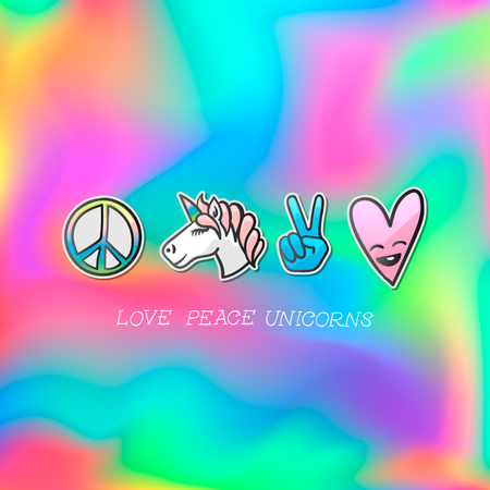 Set of cute patches and badges  on pastel colored background.
