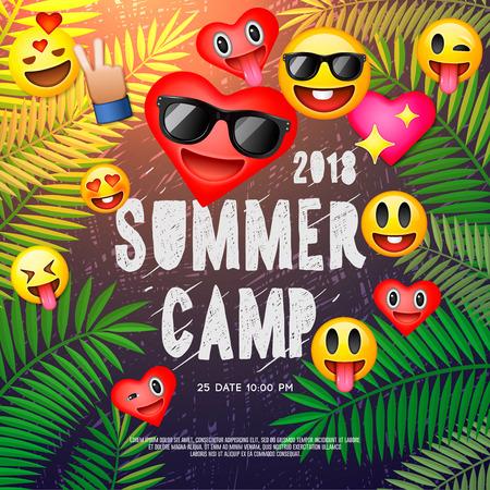 Summer camp poster template design.