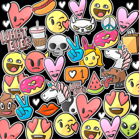 Cute emoticons sticker pattern on black background