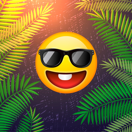 Hello summer poster. Summer party design template with emoji smile face on palm leaf background