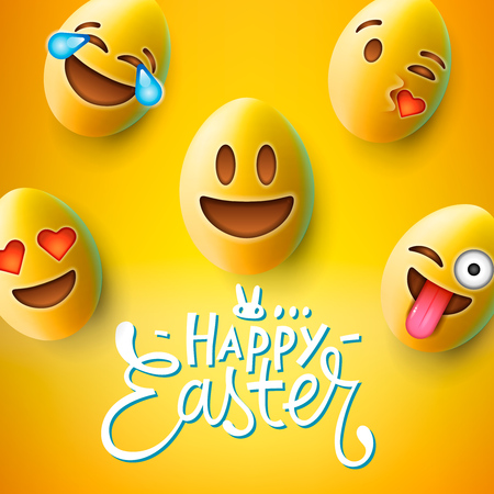 Happy Easter poster, easter eggs with cute smiling emoji faces, vector