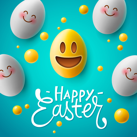 Happy Easter poster, easter eggs with cute smiling emoji faces, vector Standard-Bild - 96715769