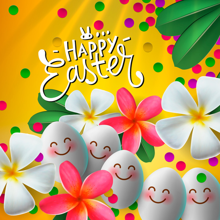 Happy Easter card with eggs and flowers, bright yellow background. Floral paints vector illustration.
