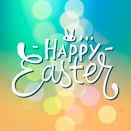 Happy Easter Typographical with blurred Background, vector.